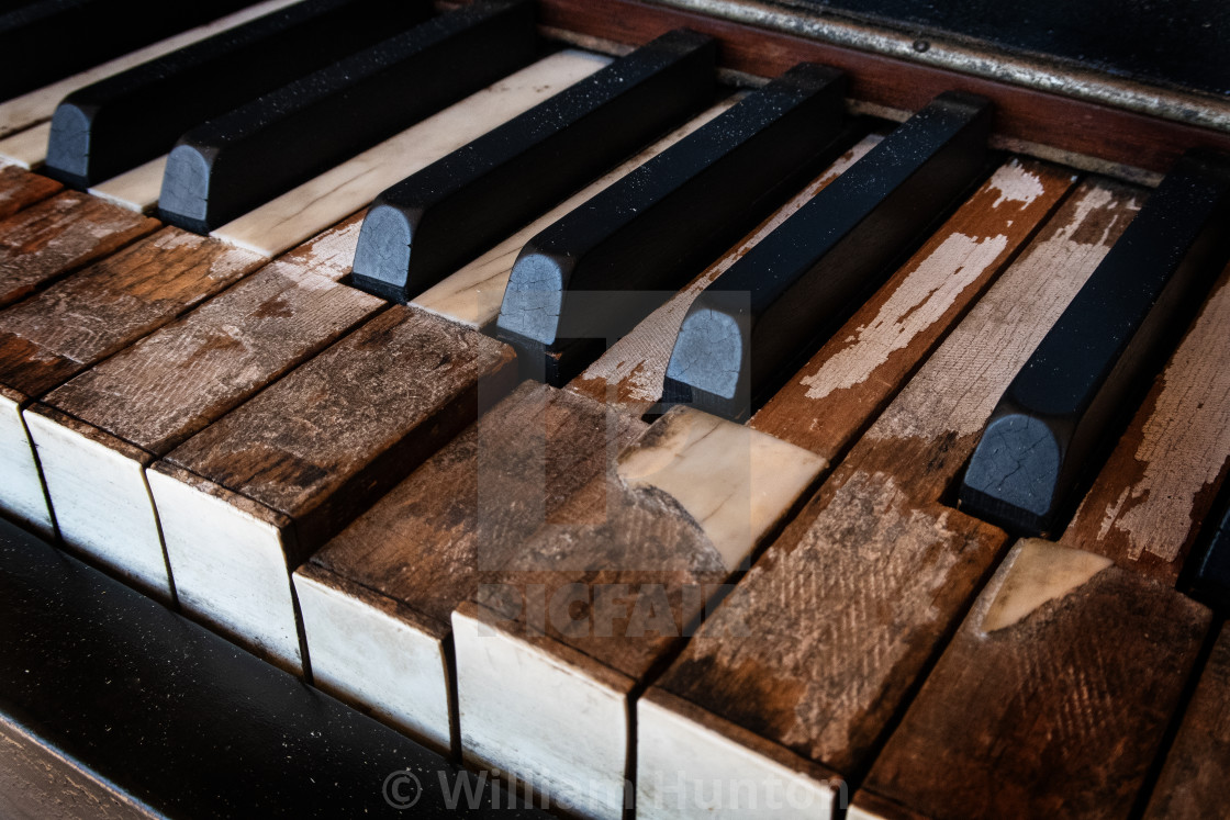 """""""Old Piano Keys #2 - Color"""" stock image"""
