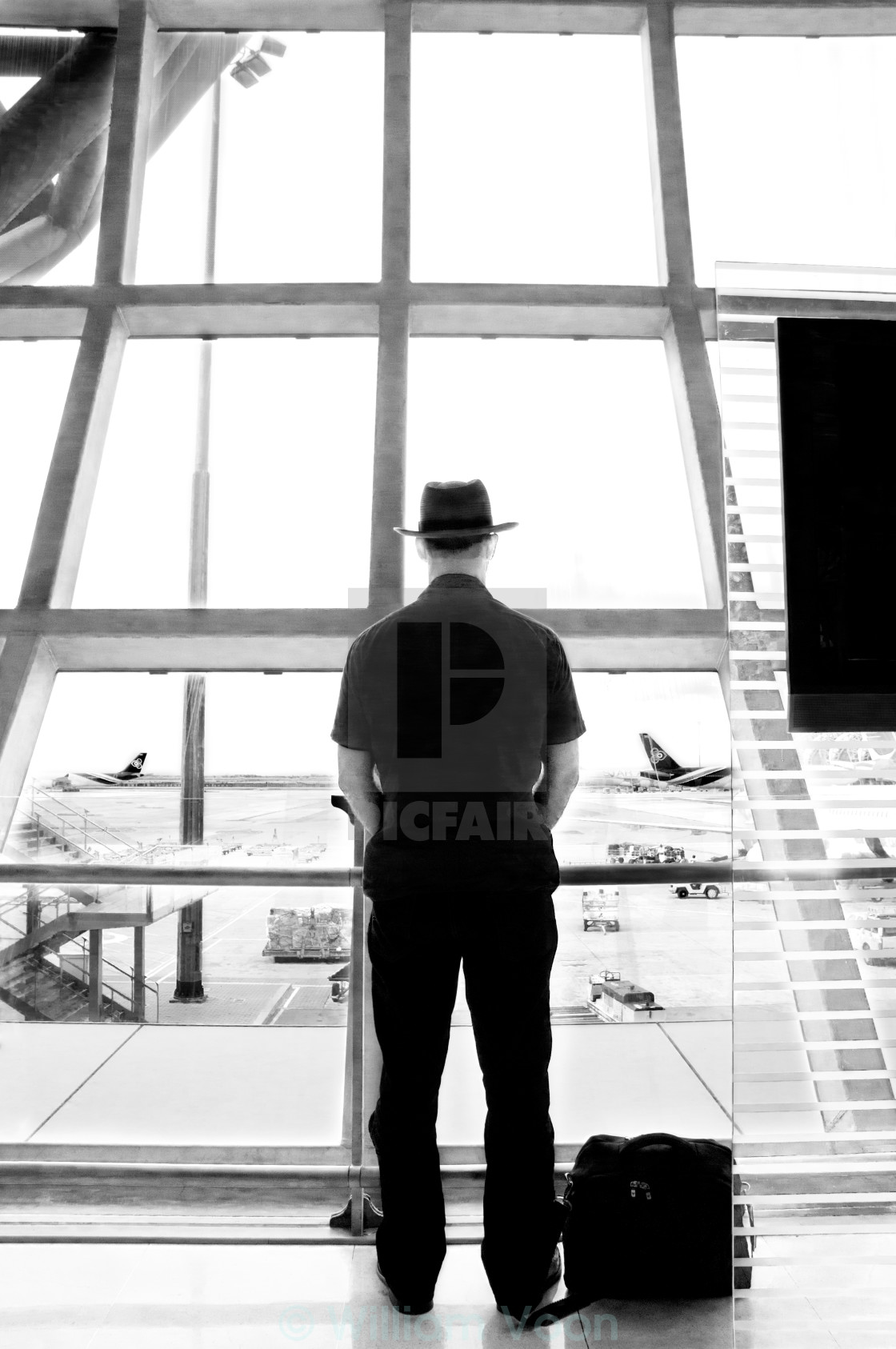 """Passenger waiting for flight"" stock image"
