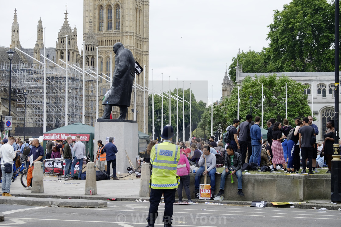 """Activists protesting at Parliament Square"" stock image"