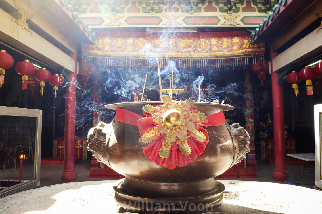 """Joss Stick Pot In Buddhist Temple"" stock image"