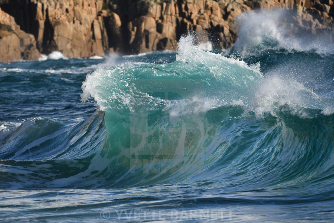 """""""Cornwall waves in winter"""" stock image"""