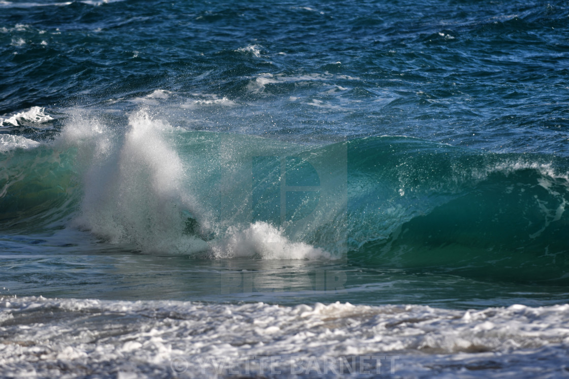 """Porthcurno waves"" stock image"