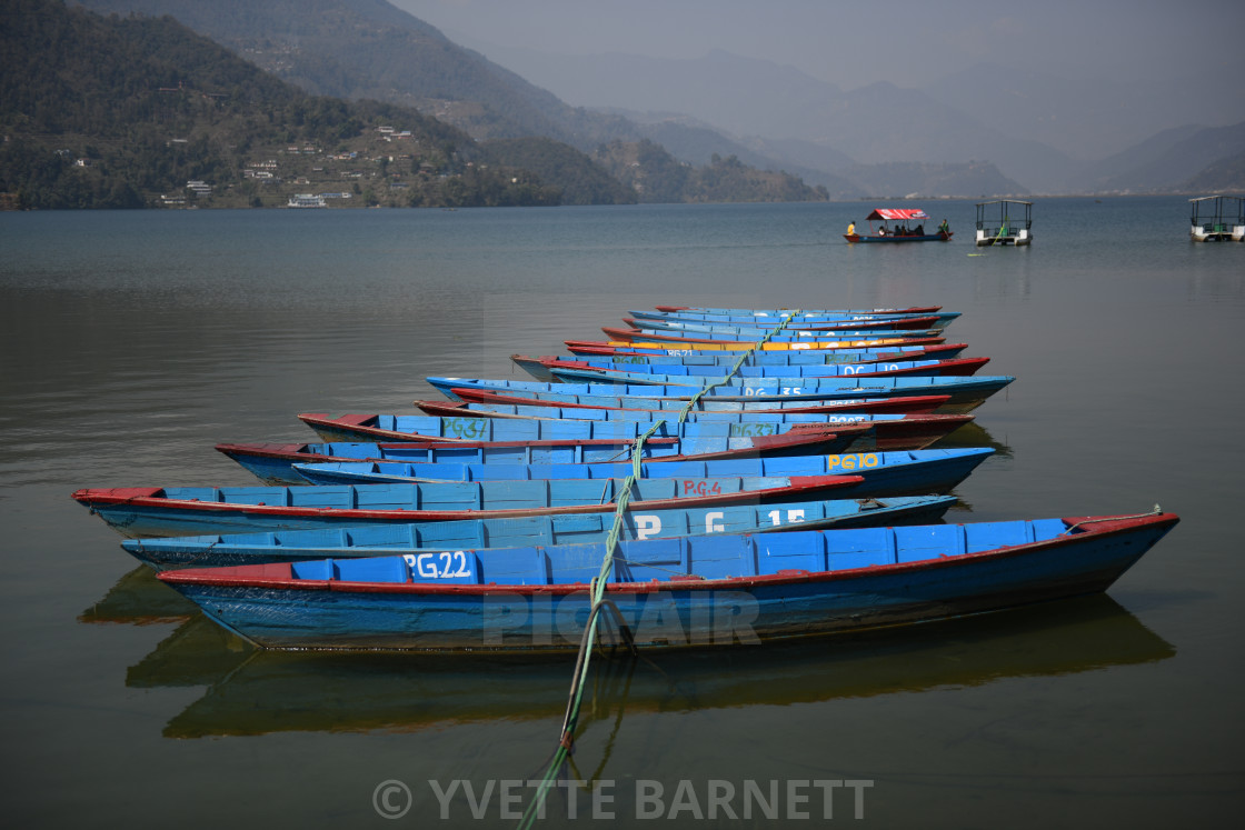 """Boats on the lake"" stock image"