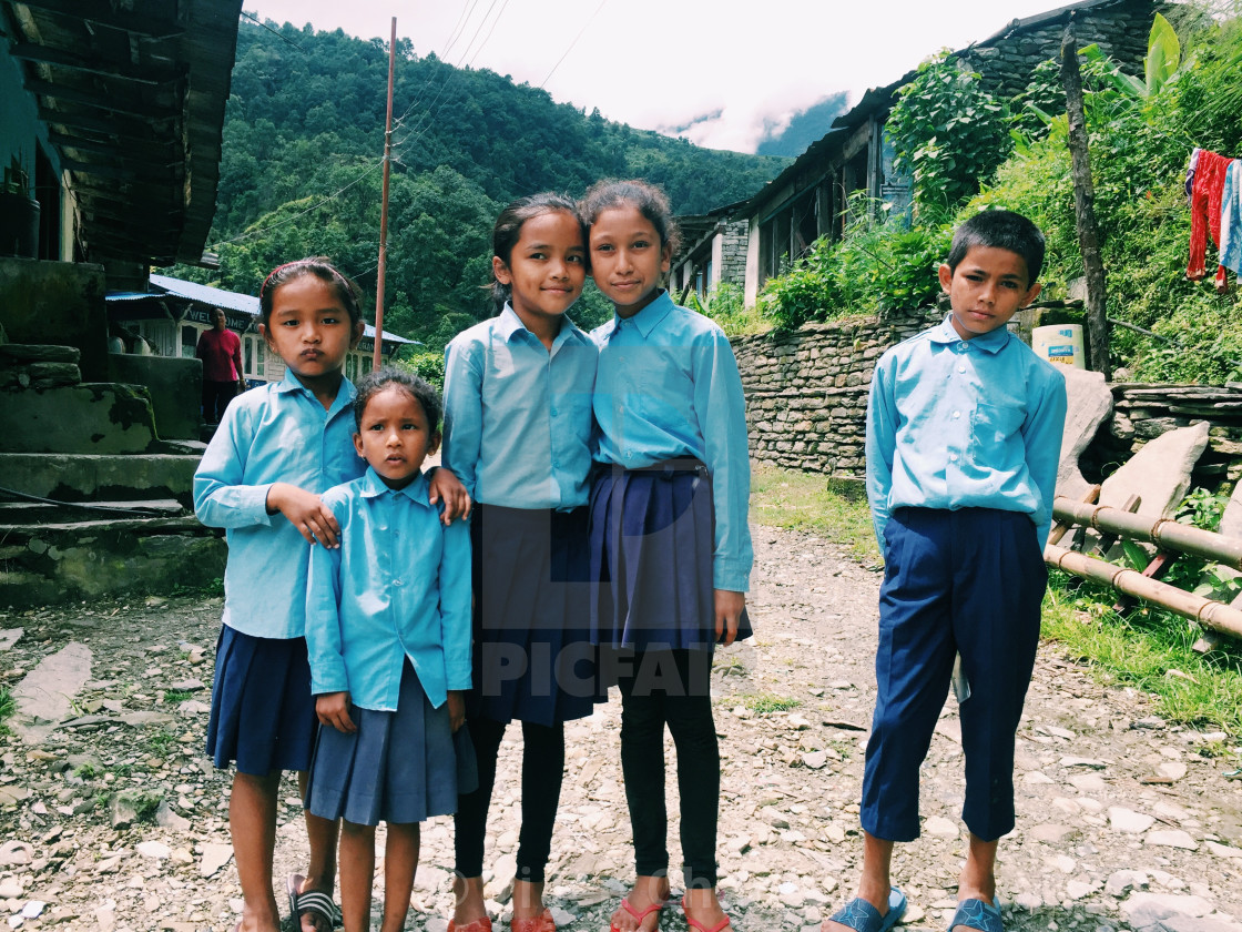 """Shy Nepalese kids"" stock image"
