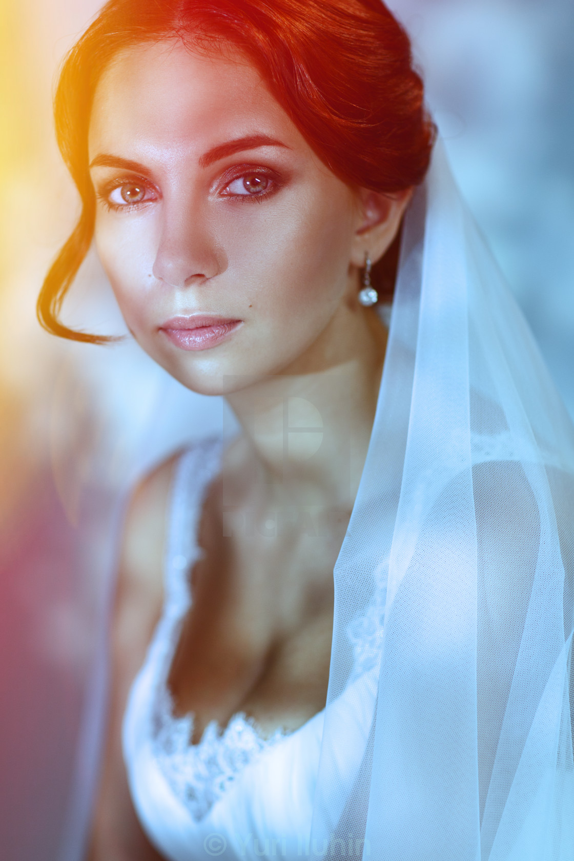 """""""Portrait of a lovely redhead bride."""" stock image"""