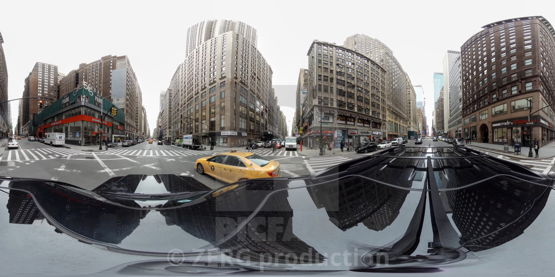 Panoramic 360 degree  Streets and sights of New York City