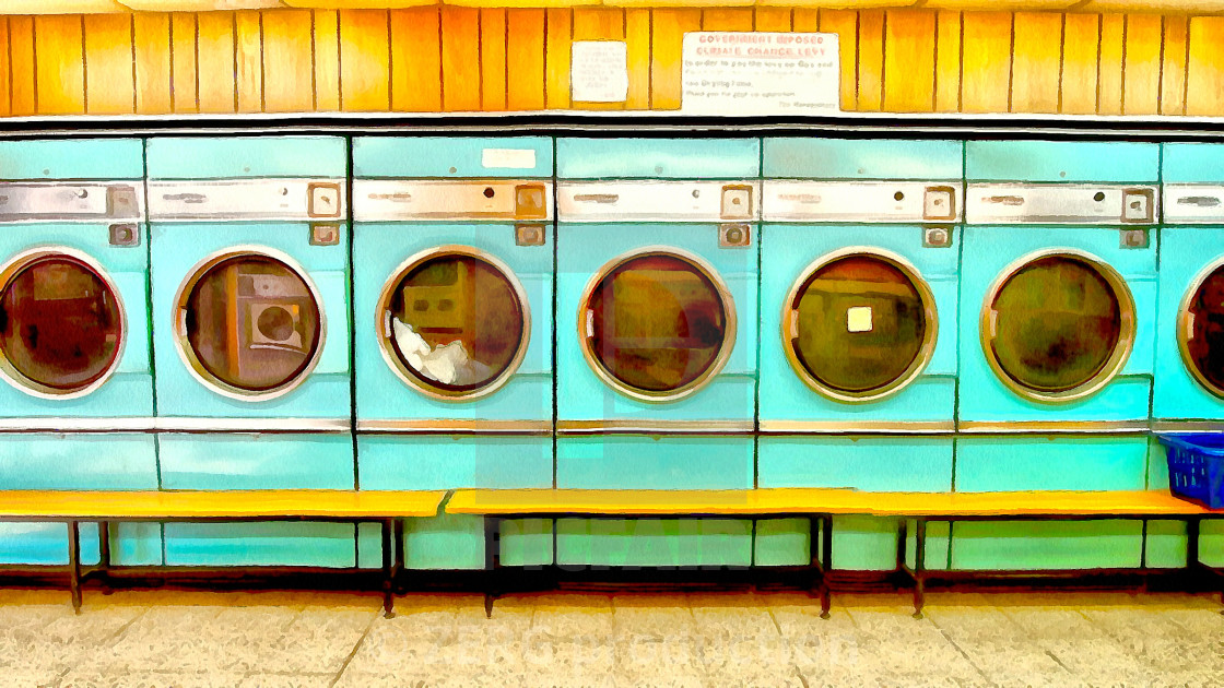 """""""Vintage washing machines at work. Art painting. Abstract paint."""" stock image"""