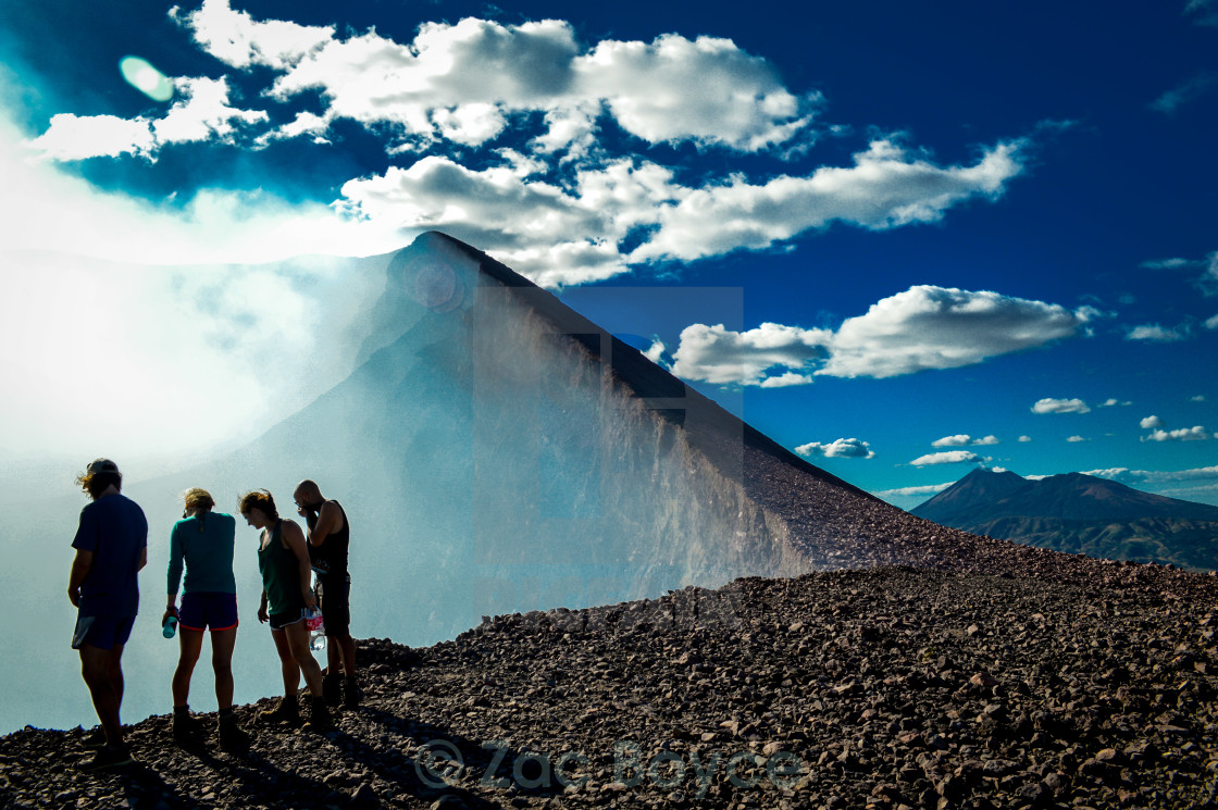 """Peering into the volcano"" stock image"