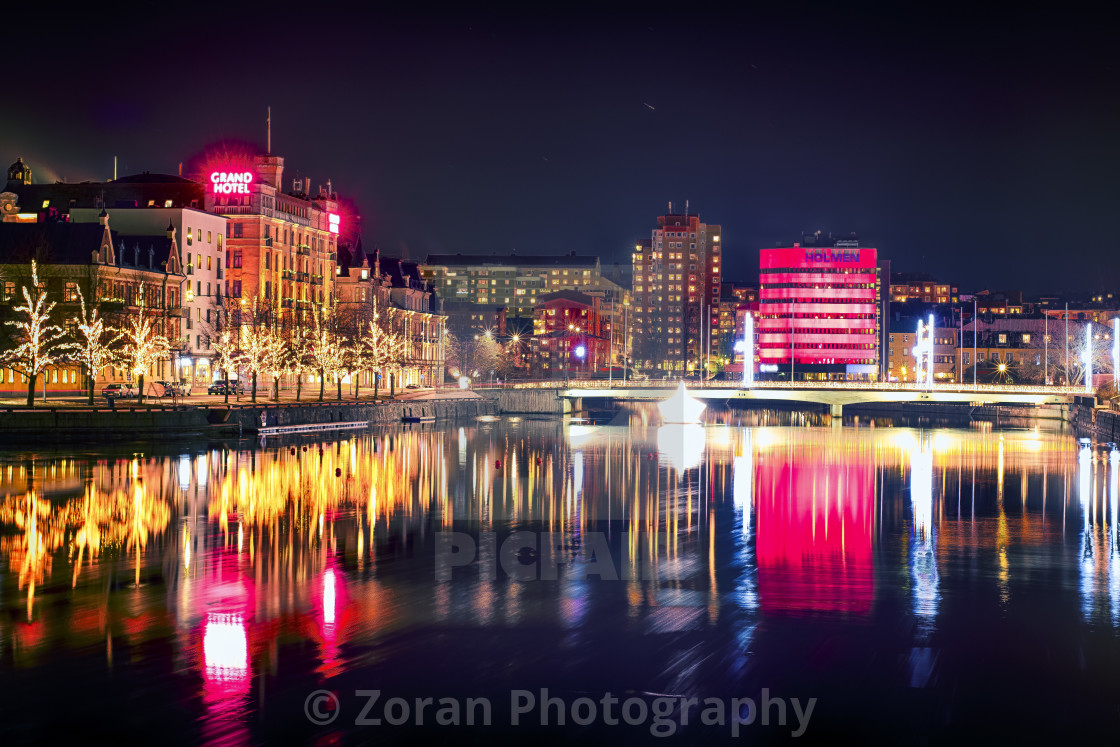 """Norrköping by night"" stock image"