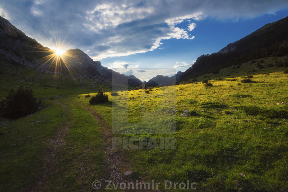 """Sun shinning on the Valley"" stock image"