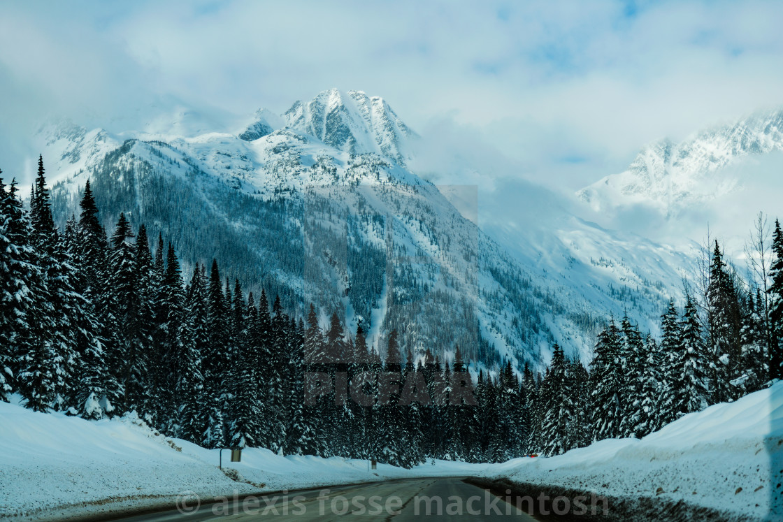 """Highway 1, Roger's Pass in Winter"" stock image"