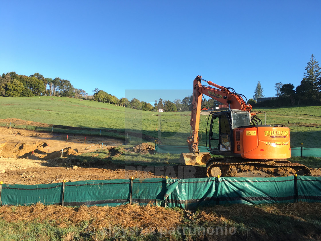 """Mechanical Digger Excavator Auckland"" stock image"