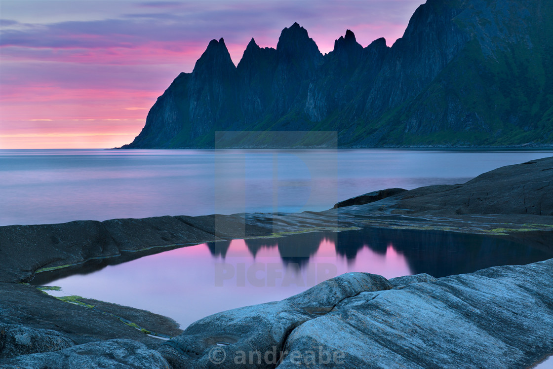 """The dawn on the island of Senja"" stock image"