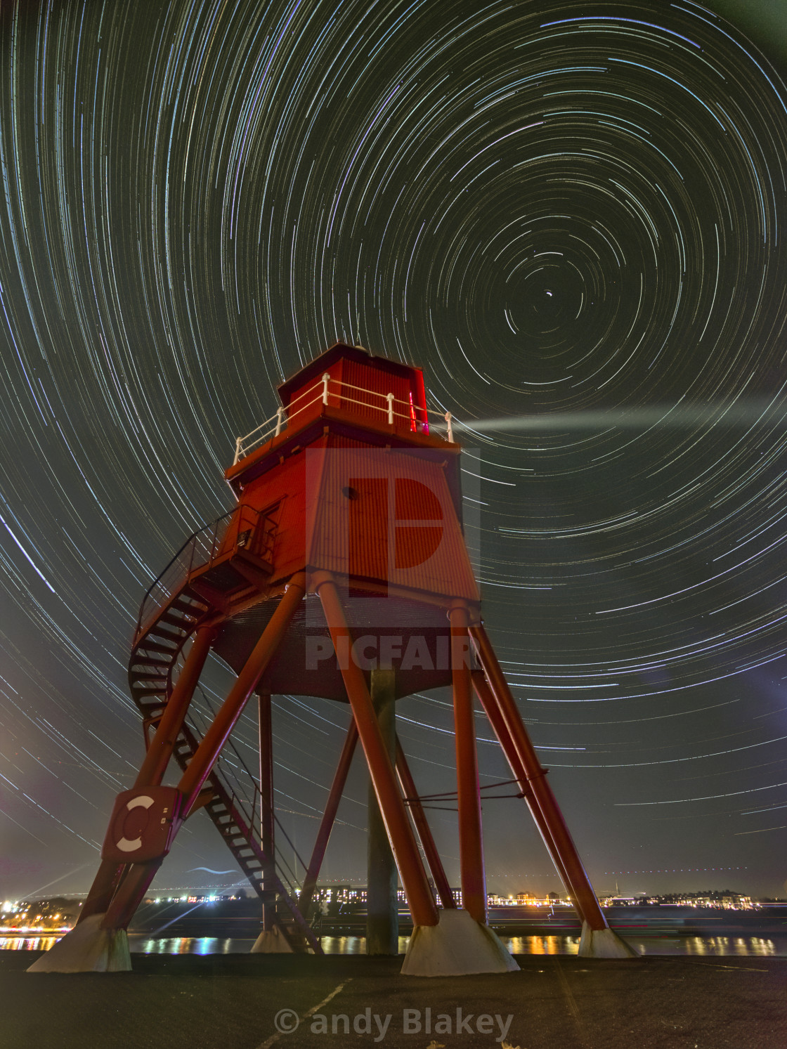 """Star trail at the groyne, South Shields"" stock image"
