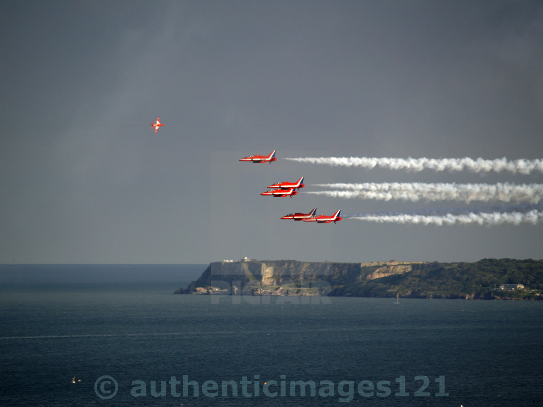 """Red Arrows pass Berry Head"" stock image"