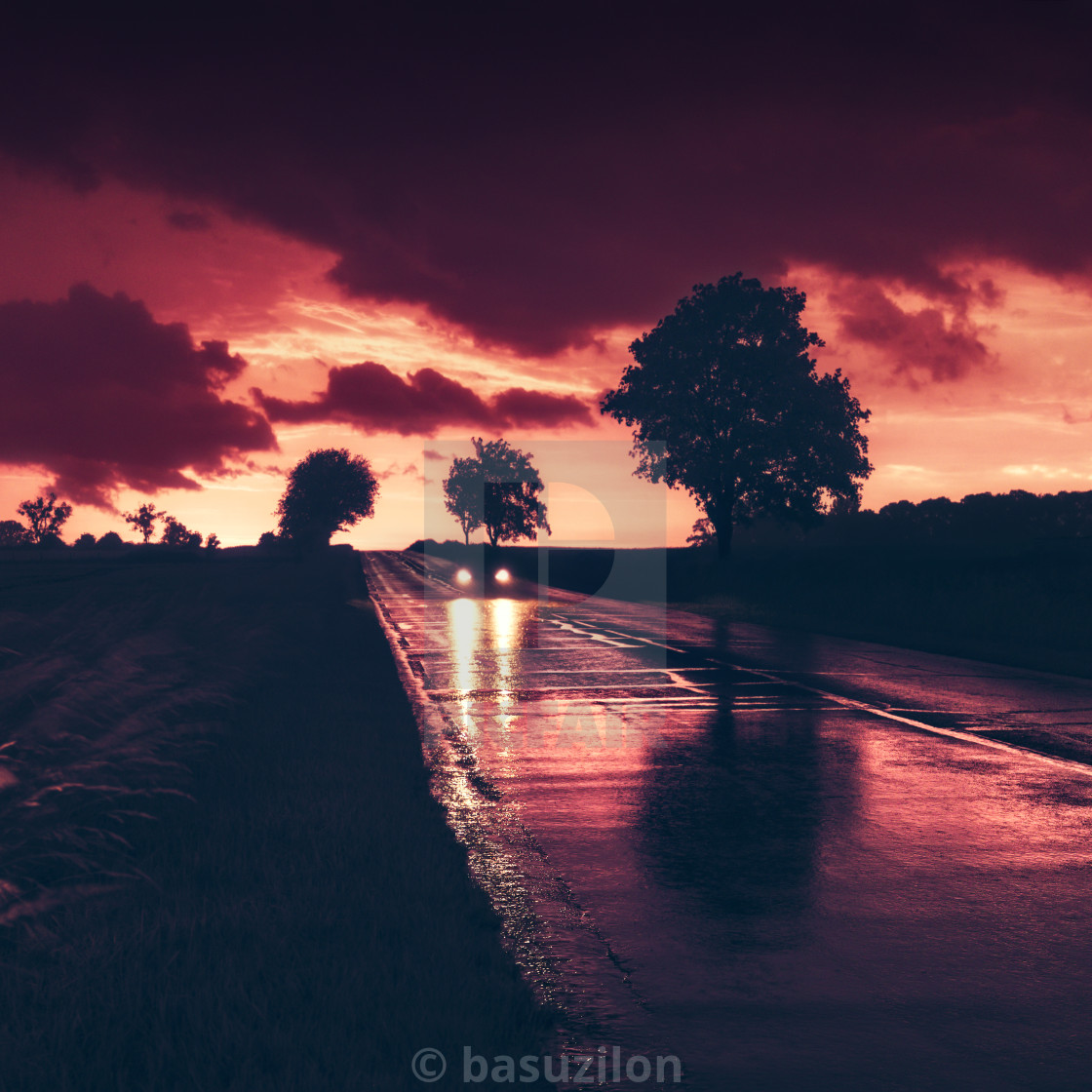"""Stormy sunset"" stock image"