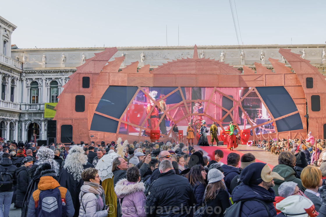 Venice, Italy Carnival 2019 main stage ground view with
