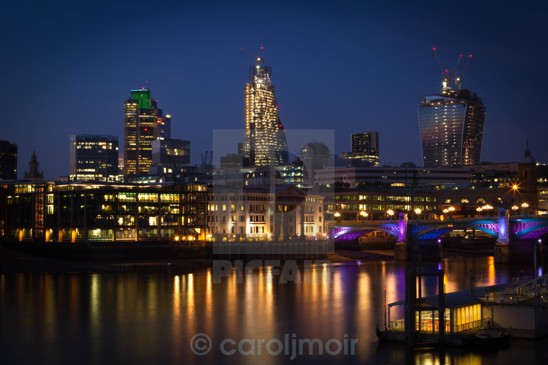"""""""reflections on a london evening"""" stock image"""