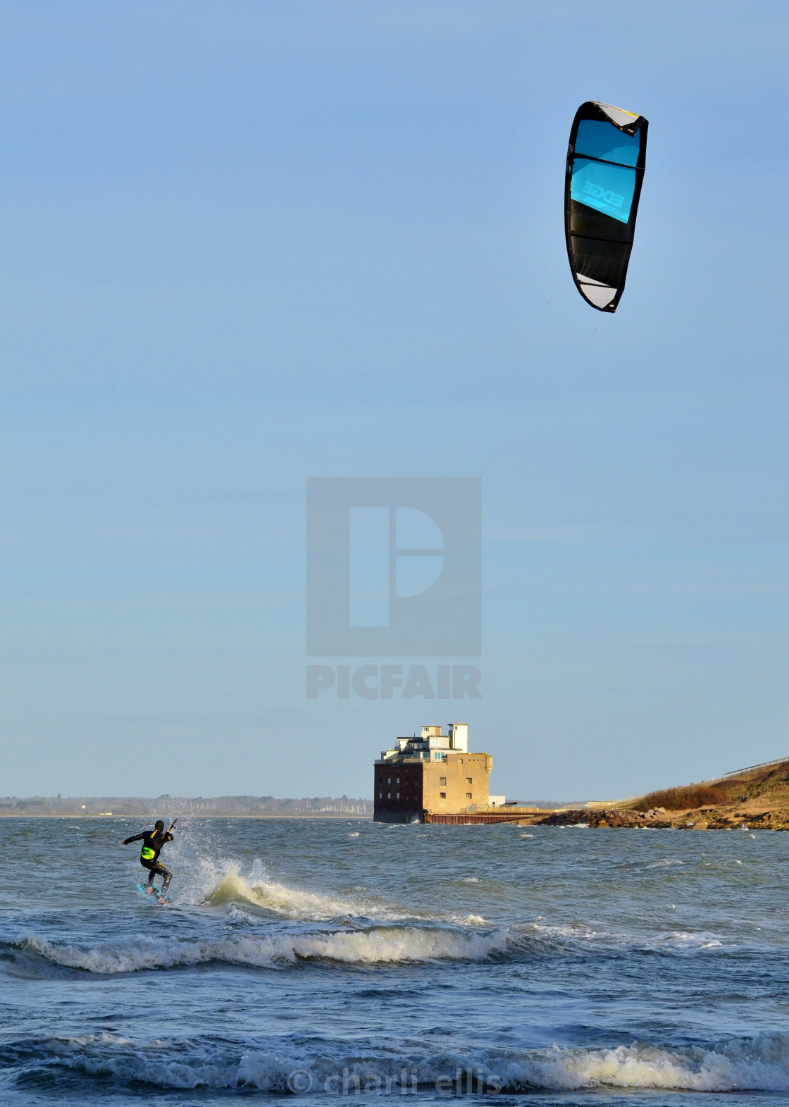 """Blue Kite surfer"" stock image"