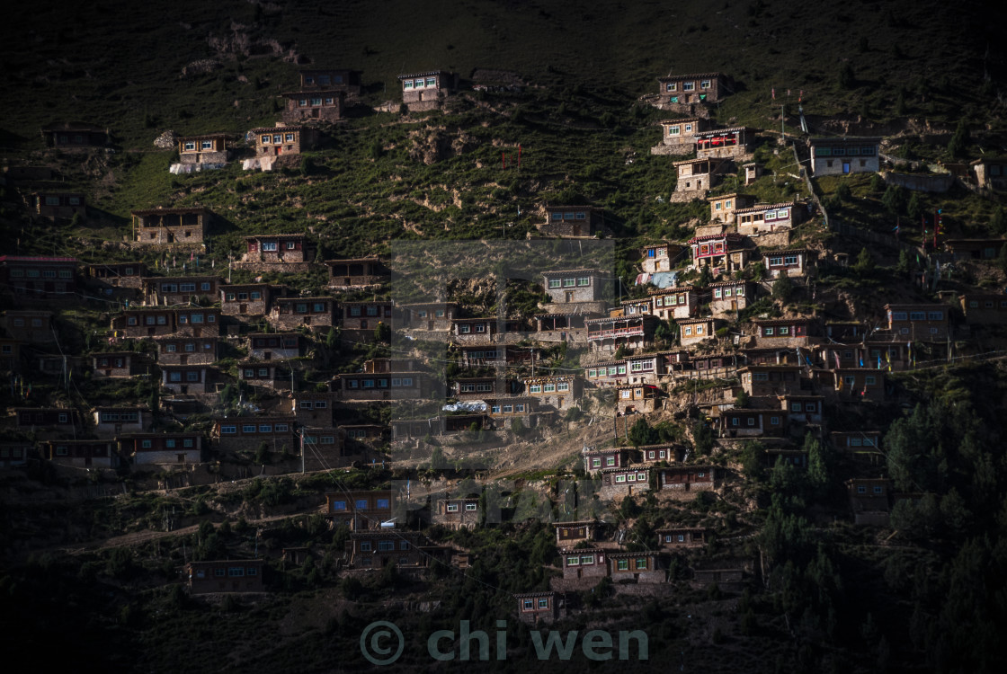 """tibet buildings on the mountain side"" stock image"