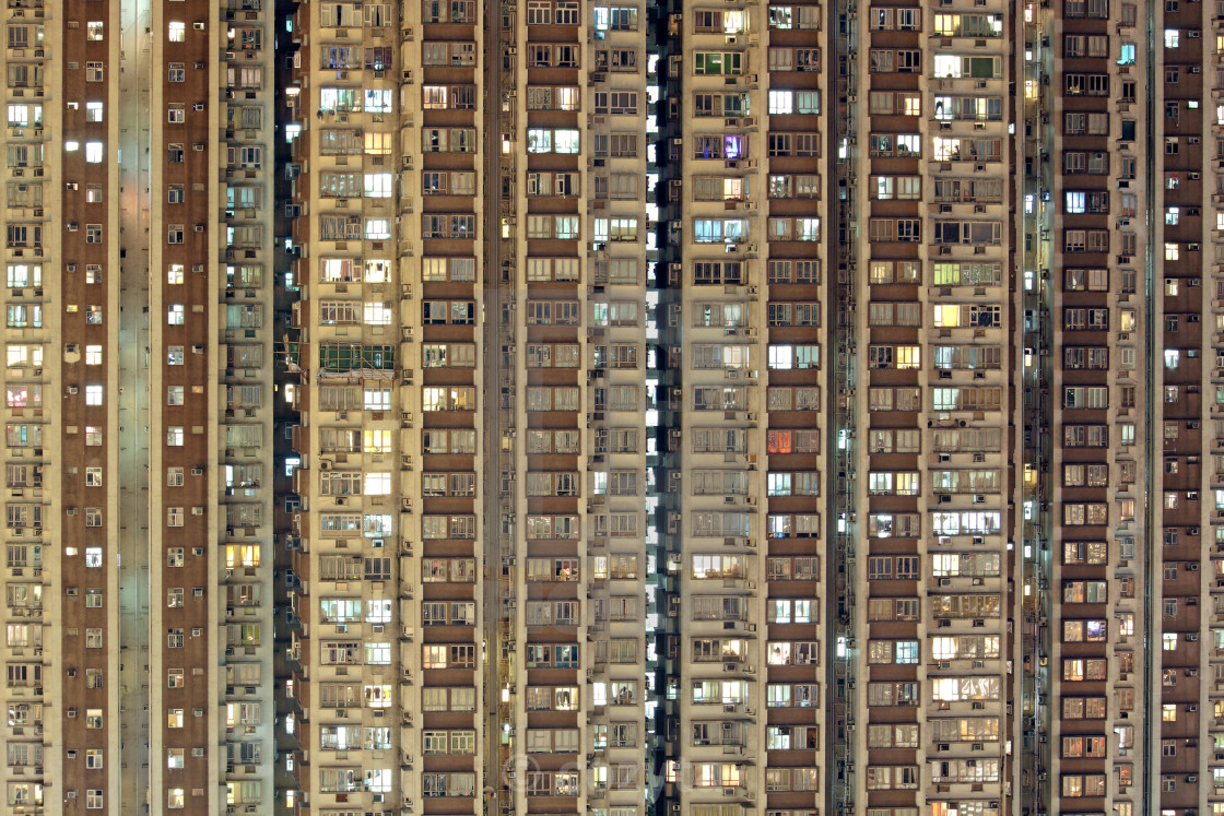"""Hong Kong public housing apartment block"" stock image"