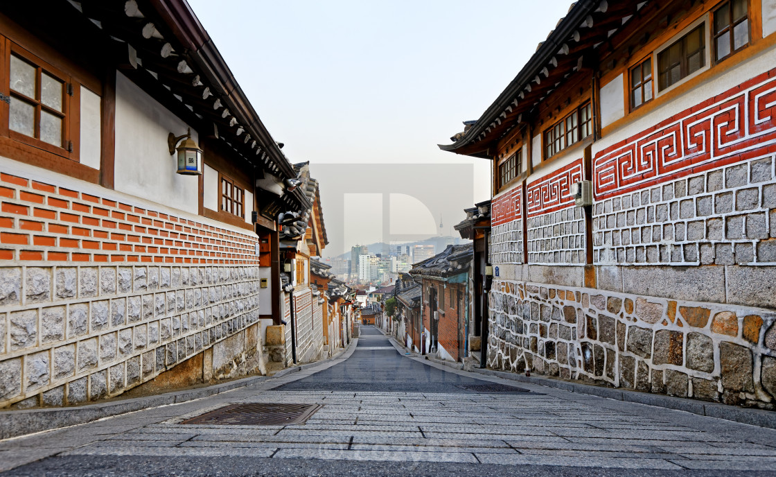 """Bukchon Hanok historic district in Seoul at sunset"" stock image"