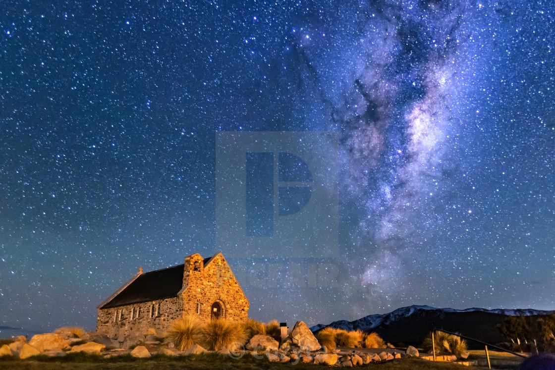 """""""Milky way over Church of Good Shepherd, Lake Tekapo, New Zealand"""" stock image"""