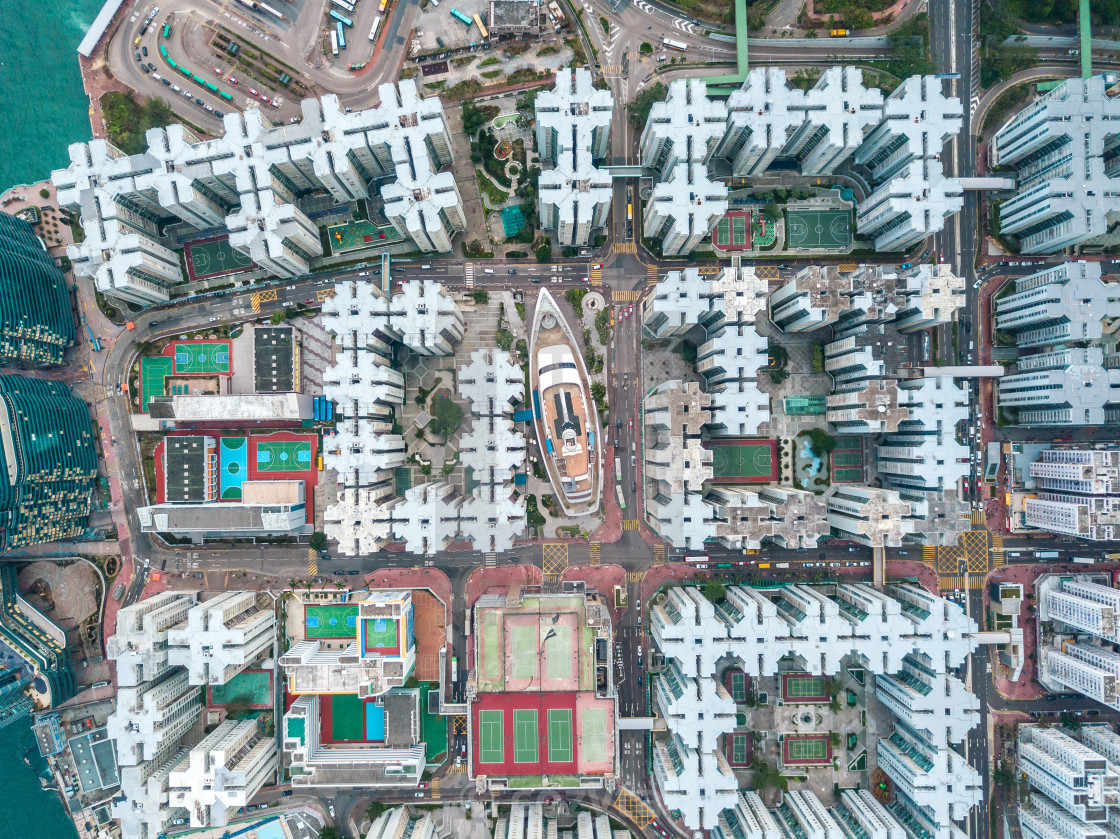 """Hong Kong City at aerial view in the sky"" stock image"