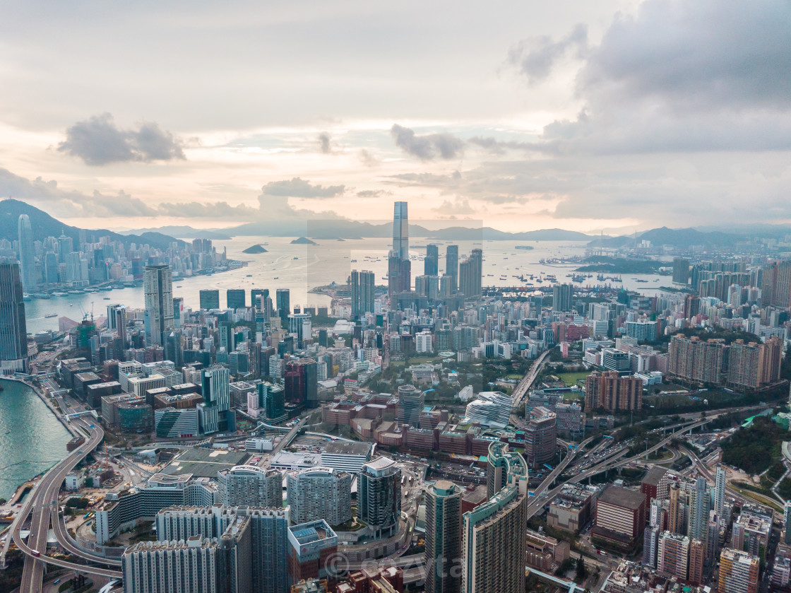 """Hong Kong City at aerial view in the sky"" stock image"