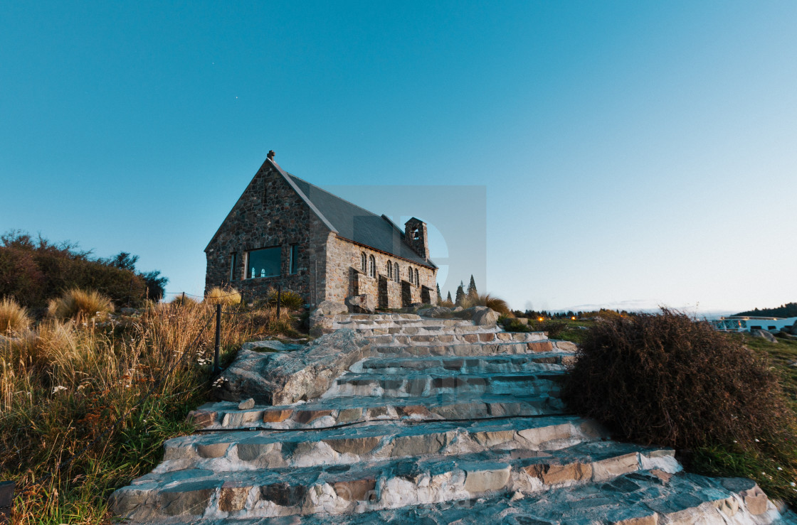 """Church of the Good Shepherd at sunset | Lake Tekapo, NEW ZEALAND"" stock image"