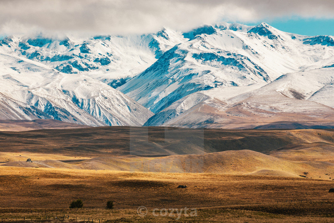 """New Zealand scenic mountain landscape shot at Mount Cook National Park."" stock image"