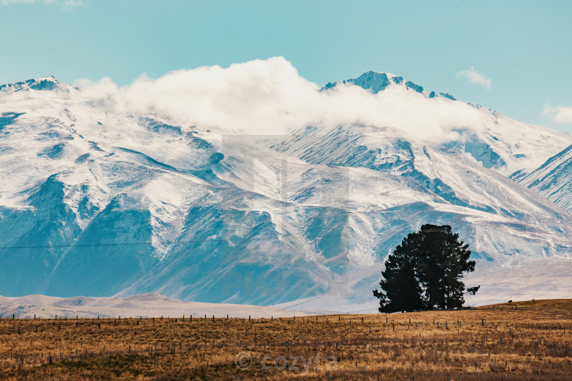"""""""New Zealand scenic mountain landscape shot at Mount Cook National Park."""" stock image"""