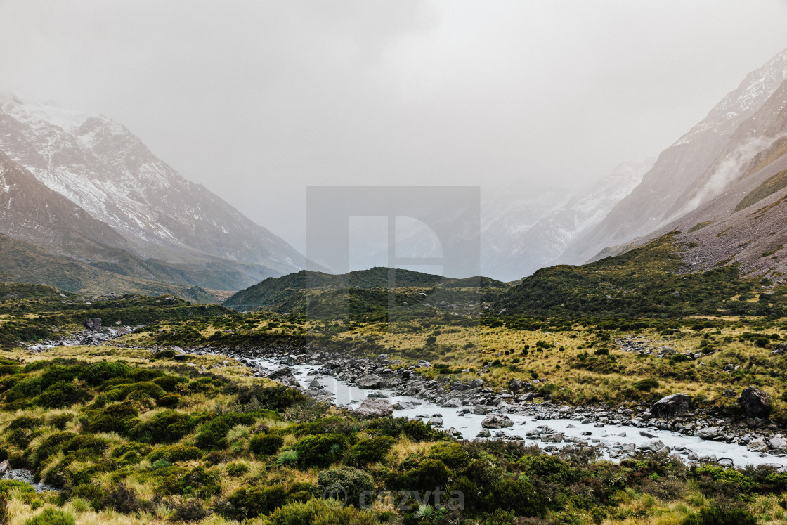 """Hooker Valley Track hiking trail, New Zealand."" stock image"
