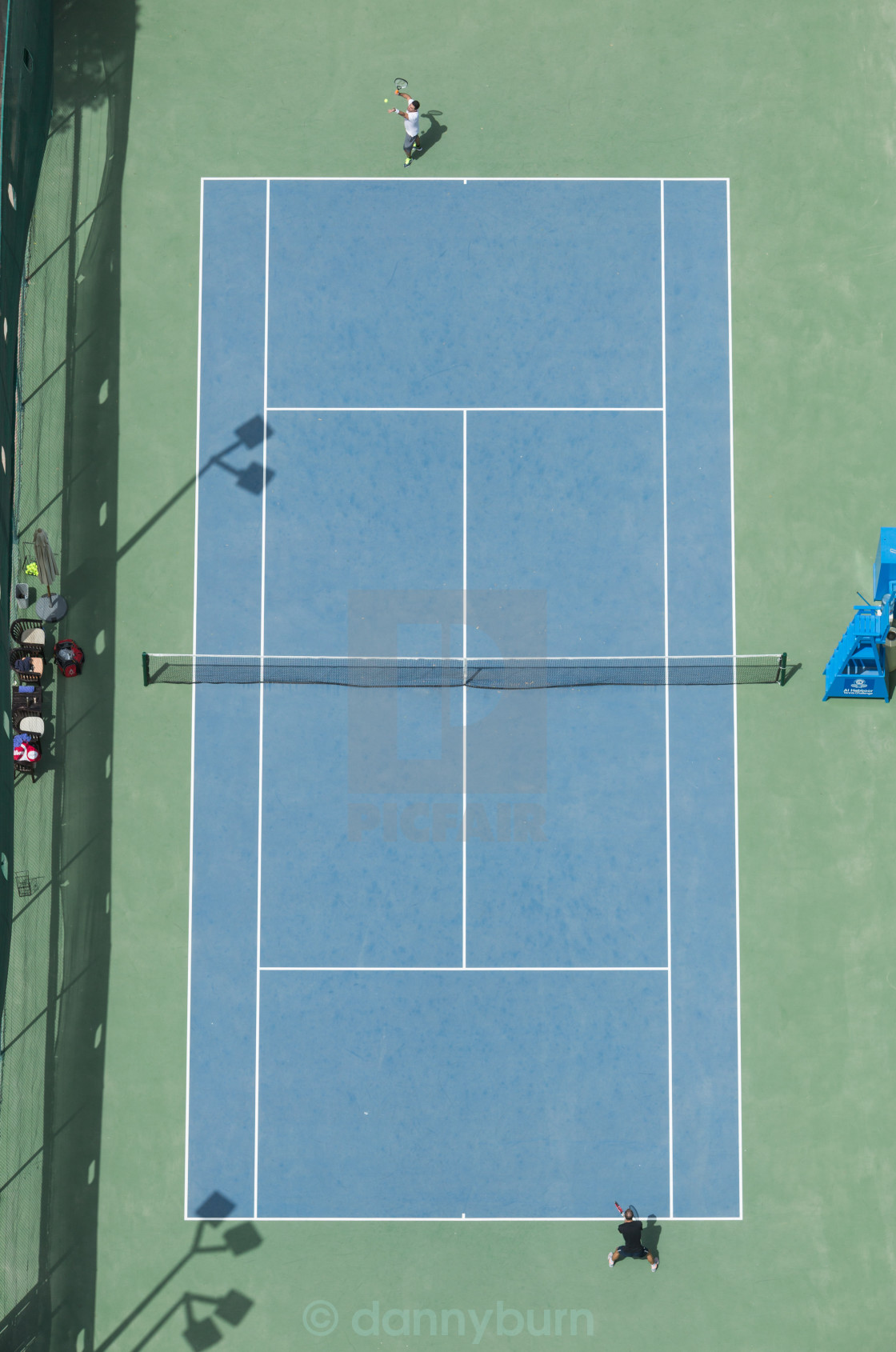 """ariel view of a tennis court birds eye view"" stock image"