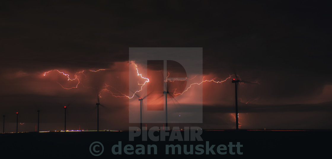 """Wind Turbines in a Texas Storm"" stock image"