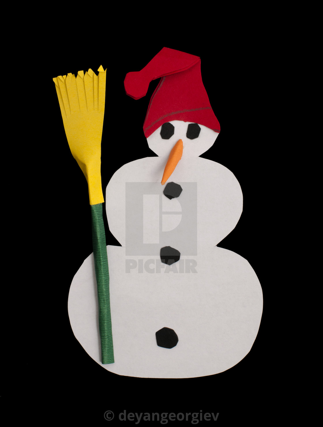 """Snowman isolated over black"" stock image"