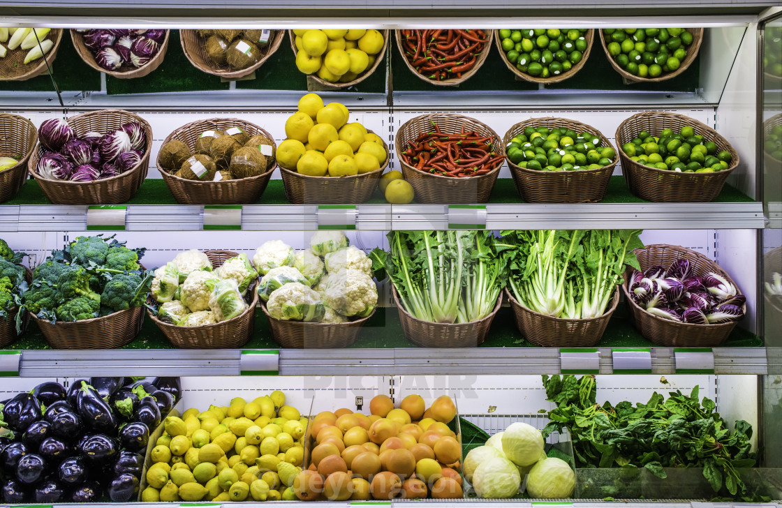 """Fruits and vegetables on a supermarket"" stock image"