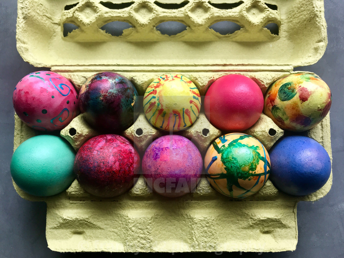 """Box with painted easter eggs."" stock image"
