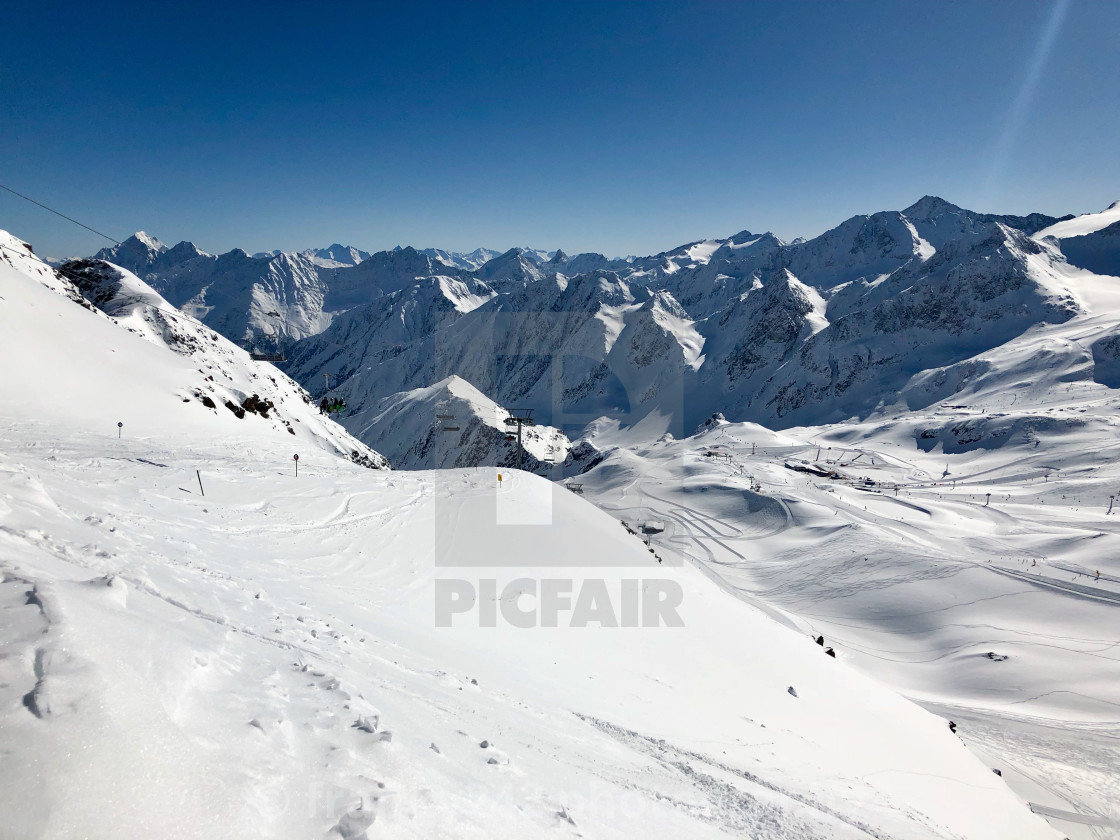 """Skiing in the Stubai glacier ski resort"" stock image"