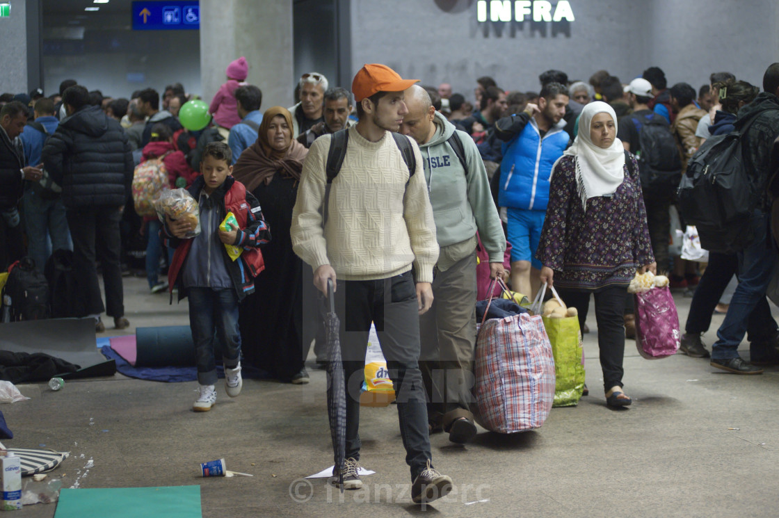 """Refugees at the main station in Salzburg"" stock image"