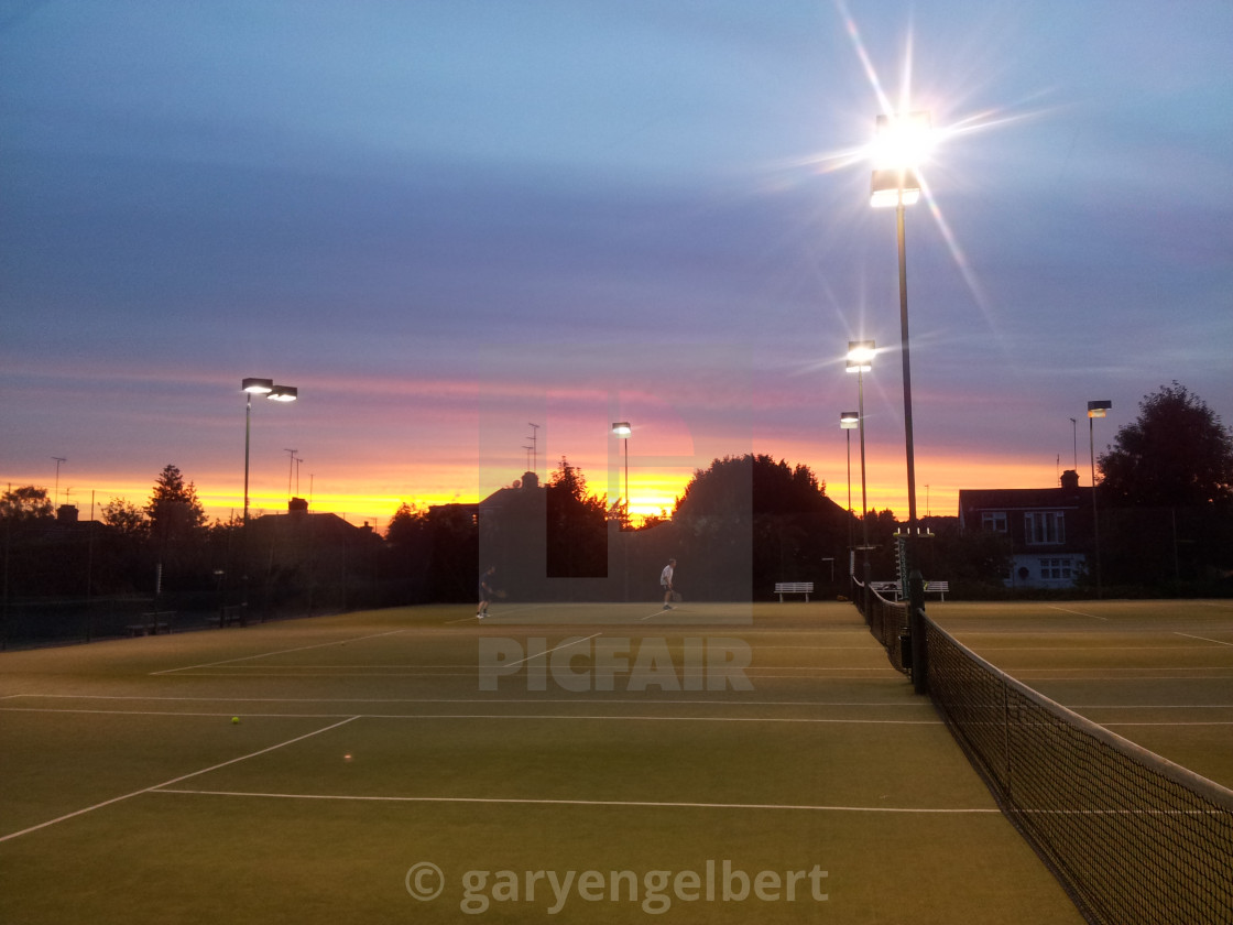 """Tennis court sunset london"" stock image"