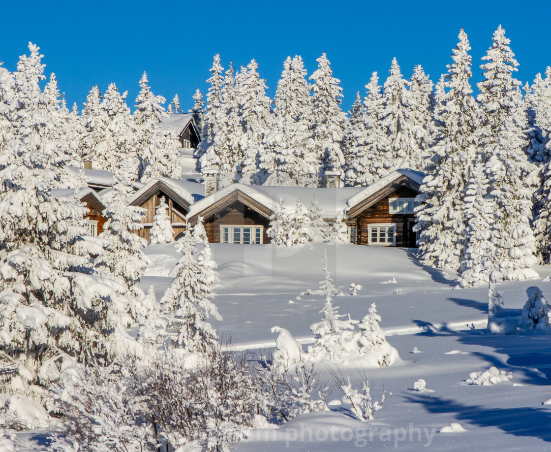 """""""Houses in the snow"""" stock image"""