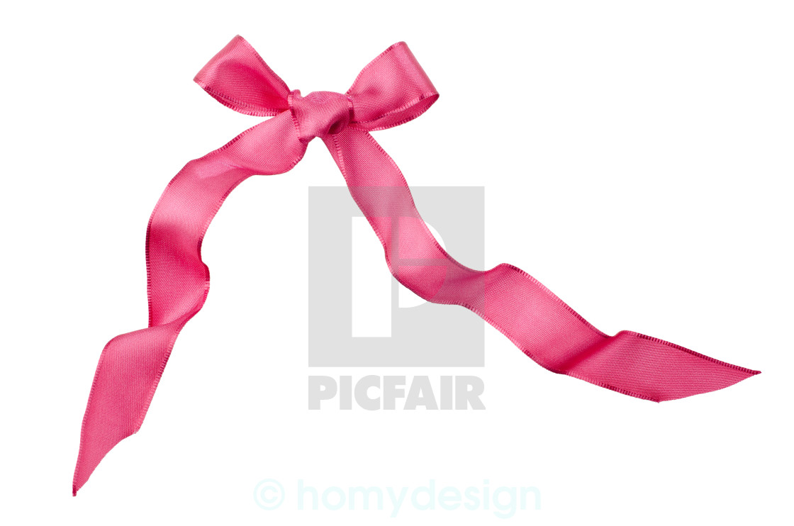 """Pink satin bow isolated on white"" stock image"