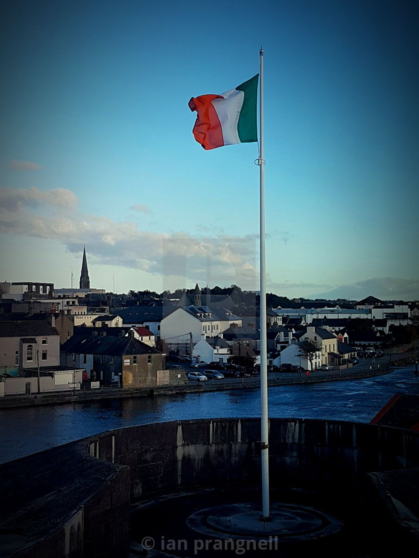 """Tricolour over Athlone Castle"" stock image"