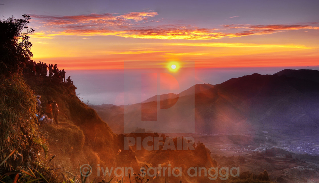 """Sunrise from Sikunir's Peak"" stock image"