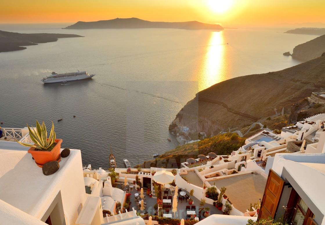 """""""fira sunset"""" stock image"""