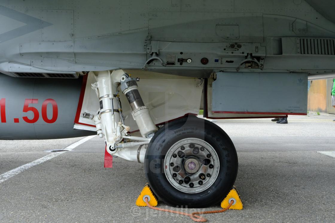 """McDonnell Douglas FA-18 Hornet landing gear"" stock image"