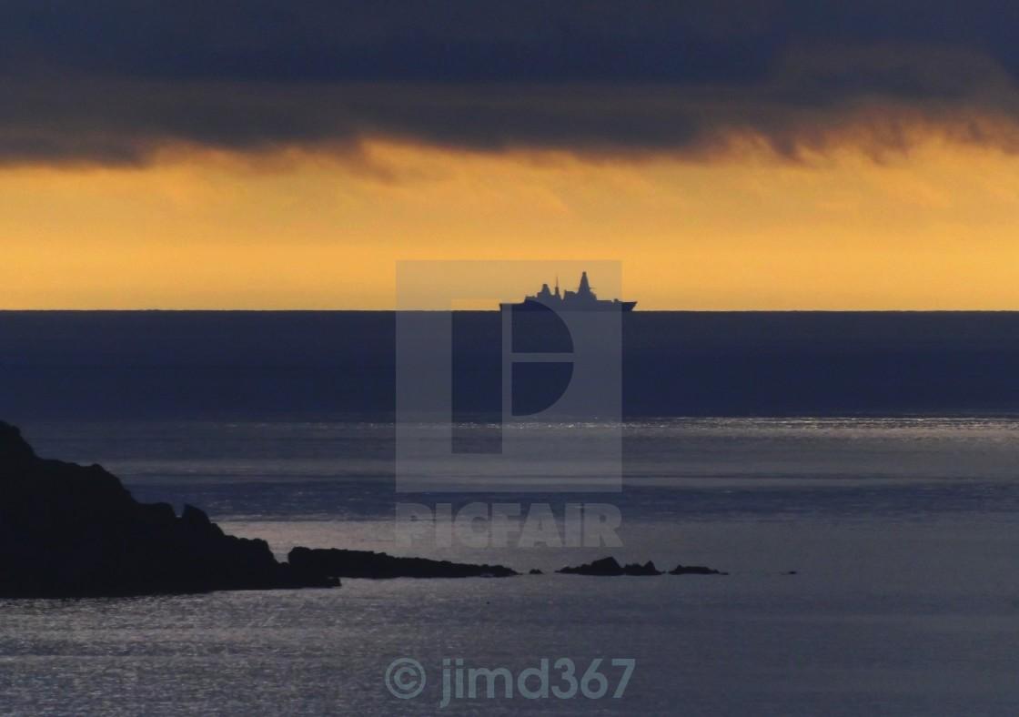 """Warship at Sunset"" stock image"