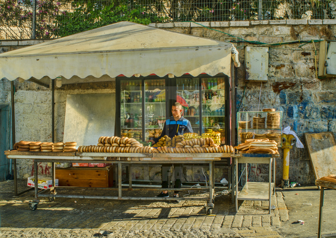 """Seller of Baked Bread Goods In Jerusalem Old City"" stock image"