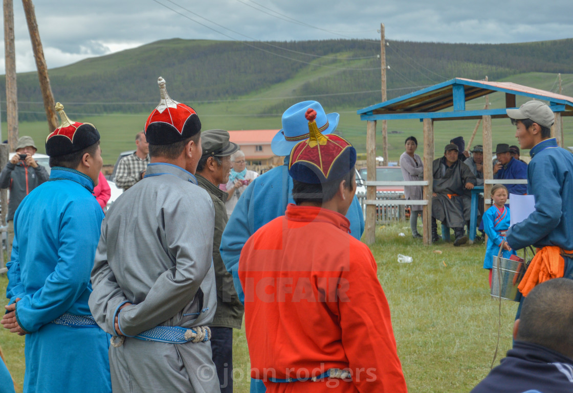 """Watchful Contestents of Naadam Wrestling Matches"" stock image"